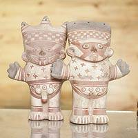 Ceramic figurines, 'Cuchimilco Couple' (Pair) - Two Handmade Museum Replica Chancay Figurines from Peru
