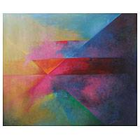 'Geometries in the Cosmos' - Multi Colored Abstract Geometry Painting Oil On Canvas