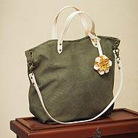 Cotton and leather accent shoulder bag, 'Andean Florette on Green' - Green Cotton Shoulder Bag With Leather Accents