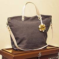 Cotton and leather accent shoulder bag, 'Andean Florette on Brown' - Brown Cotton and Leather Shoulder Bag With Multiple Pockets
