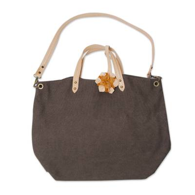 Brown Cotton and Leather Shoulder Bag With Multiple Pockets