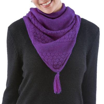100% alpaca neck warmer, 'Purple Warmth' - Andean Handcrafted Purple Baby Alpaca Neck Warmer