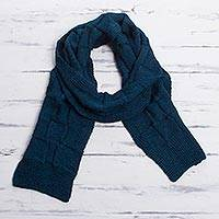 Men's 100% alpaca scarf, 'Teal Blue Chessboard' - Men's Teal Blue Baby Alpaca Knitted Scarf from Peru