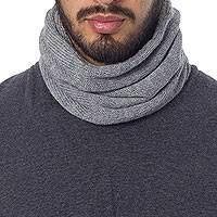 Men's 100% alpaca neck warmer, 'Versatile Grey' - Men's Grey Baby Alpaca Knitted Neck Warmer or Hat