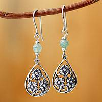 Sterling Silver And Aventurine Flower Earrings Dewdrop Blooms (peru)
