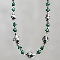 Malachite beaded necklace, 'Inca Zaranda' - Malachite Beads on Hand Crafted Sterling Silver Necklace