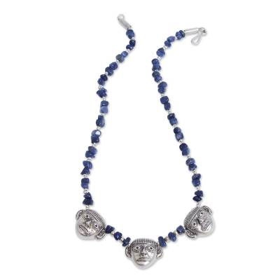 Sodalite Hand Crafted Necklace With Sterling Silver Masks