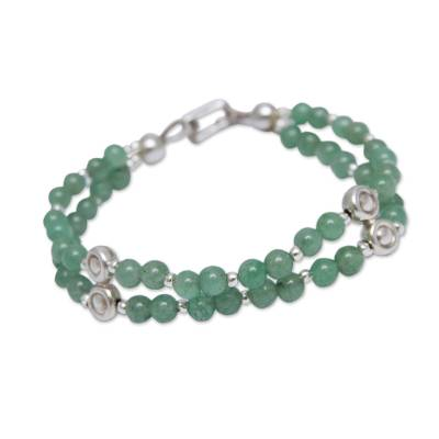 Artisan Crafted Aventurine Beaded Bracelet With Silver