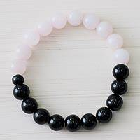 Agate and rose quartz stretch bracelet, 'Dawn Clouds' - Peru Rose Quartz and Black Agate Handmade Stretch Bracelet