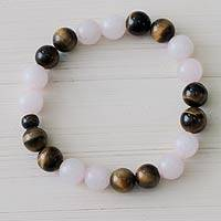Rose quartz and tiger's eye stretch bracelet, 'Andean Love' - Handmade Rose Quartz and Tiger's Eye Stretch Bracelet