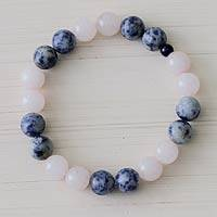 Rose quartz and sodalite stretch bracelet, 'Andean Dawn' - Handmade Rose Quartz and Sodalite Stretch Bracelet