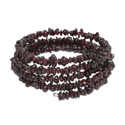 Peruvian Artisan Crafted Spiral Garnet Bracelet