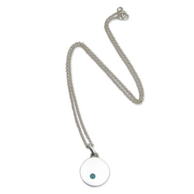 Brushed Silver Pendant Necklace with Chrysocolla