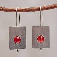 Agate drop earrings, 'Magnificent' - Handmade Brushed Silver Earrings with Red Agate