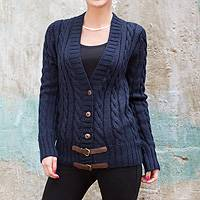 Alpaca blend cardigan, 'Buckles on Navy' - Navy Blue Alpaca Blend Knit Cardigan Sweater