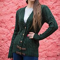 Alpaca blend cardigan, 'Buckles on Green' - Peruvian Alpaca Blend Cardigan Sweater in Forest Green