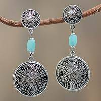 Amazonite filigree earrings, 'Fortune's Shadow' - Sterling Silver Filigree Dangle Earrings with Amazonite Gems