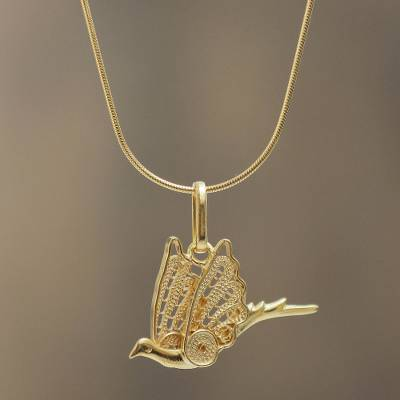 Gold plated filigree necklace, 'Sunlit Dove' - Peruvian Filigree Necklace in Gold Plated Sterling Silver