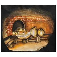 'Wood Stove Kitchen' - Traditional Andean Kitchen Original Painting