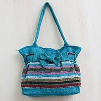 Wool shoulder bag, 'Turquoise Cajamarca Carnival' - Peruvian Hand Woven Wool Shoulder Bag with 3 Pockets