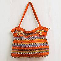 Wool shoulder bag, 'Cajamarca Sunset' - Hand Loomed Peruvian Wool Shoulder Bag