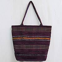 Wool shoulder bag, 'Festive Comparsa' - Hand Woven Purple Tote Handbag from Peru