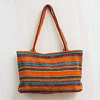 Wool shoulder bag, 'Cajamarca Orange' - Hand Loomed Peruvian Wool Striped Shoulder Bag