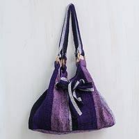 Wool hobo bag, 'Dance Cumbe-cumbe' - Hand Woven Purple and Lilac Wool Hobo Bag with 3 Pockets