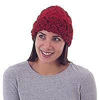 100% alpaca hat, 'Crimson Crinkle' - Hand Knitted Crochet Alpaca Wool Hat From Peru