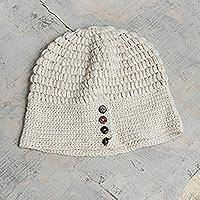 100% alpaca hat, 'Andean Peaks' - Hand Crocheted Alpaca Cloche Hat With Coconut Shell Buttons
