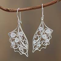 Sterling silver filigree earrings,
