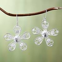 Sterling silver filigree flower earrings,