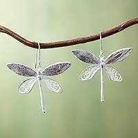 Sterling silver filigree earrings, 'Poised Dragonflies' - Sterling Silver Filigree Hook Earrings With Copper Accents