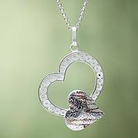 Sterling silver filigree heart necklace, 'My Love' - Sterling Silver Filigree Heart Necklace and Copper Accents