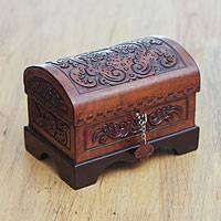 Cedar and leather jewelry box, 'Colonial Memory' - Colonial Theme Tooled Leather Jewelry Box from Peru