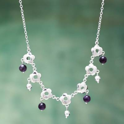 Amethyst waterfall necklace, 'Flower Shower' - Handcrafted Silver Floral Necklace with Amethysts