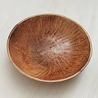 Wood serving bowl, 'Basin of Life' - Fair Trade Serving Bowl Hand Carved of Sustainable Wood