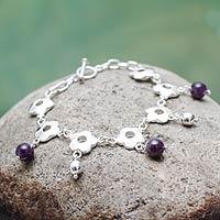 Amethyst charm bracelet, 'Flower Shower' (Peru)