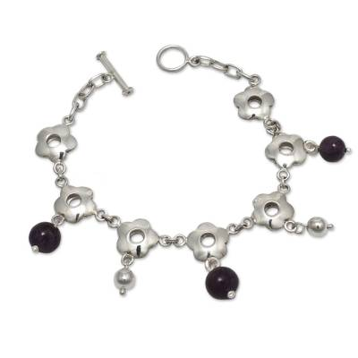 Handcrafted Silver Floral Charm Bracelet with Amethysts