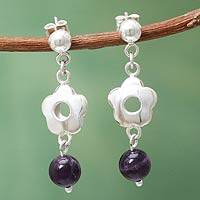 Amethyst dangle earrings, 'Flower Shower' - Handcrafted Silver Floral Earrings with Amethysts