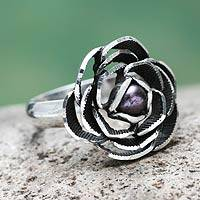 Cultured pearl flower ring, 'Lavender Rose' - Purple Pearl in Handcrafted Sterling Silver Flower Ring