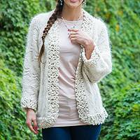 Alpaca cardigan, 'Timeless' - Hand Knitted Alpaca Wool Blend Cardigan With Crochet Trim