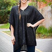 Alpaca blend poncho, 'Fields in Shadow' - Black and Grey Reversible Alpaca Blend Poncho
