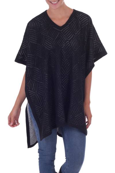 Black and Grey Reversible Alpaca Blend Poncho