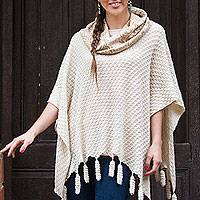 100% alpaca poncho, 'Inca Prairie' - 100% Alpaca Poncho with Cowl Neck in Beige and Ivory