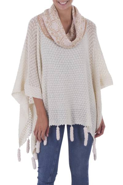 100% Alpaca Poncho with Cowl Neck in Beige and Ivory
