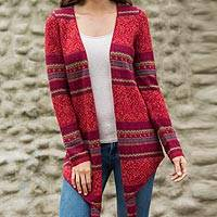 100% alpaca cardigan, 'Floral Medley' - Women's 100% Alpaca Open Cardigan in Red and Fuchsia