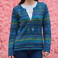 100% alpaca cardigan, 'Amazonian Wonder' - Blue Green Alpaca Cardigan Women's Fair Trade Apparel