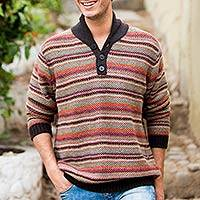 Men's 100% alpaca pullover sweater, 'Piura Sunset' - 100% Alpaca Pullover Knit Men's Sweater with Nehru Neck