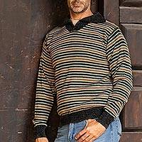 Men's 100% alpaca pullover sweater, 'Dark Grey Heights' - Men's 100% Alpaca Pullover Sweater with Turtleneck